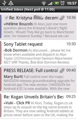 K9 Android email app screenshot