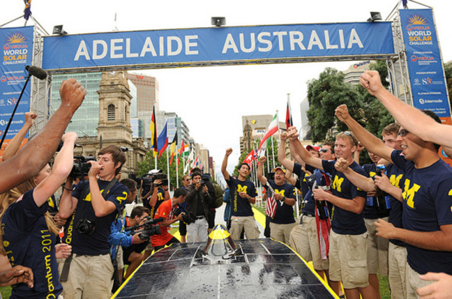 Michigan celebrate in Adelaide. Pic: World Solar Challenge