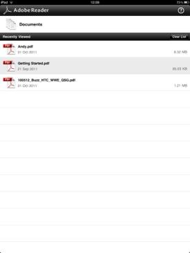 Adobe Reader for iOS screenshot