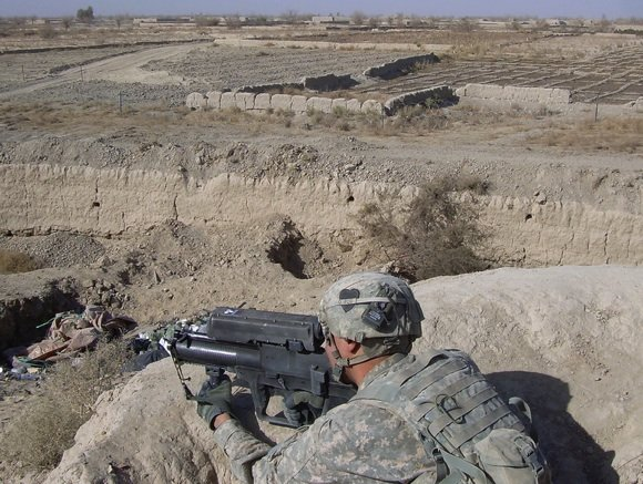The XM-25 in action in Afghanistan. Credit: PEO Soldier