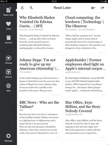 Instapaper iOS app screenshot iPad