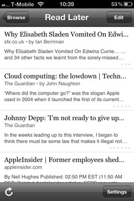 Instapaper iOS app screenshot iPhone