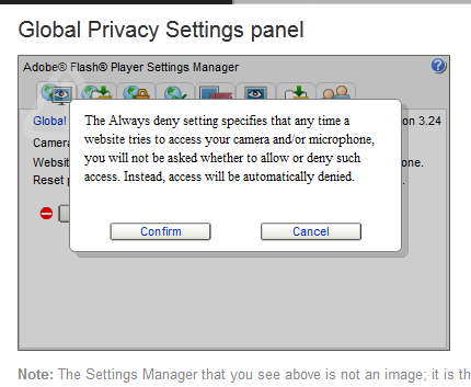 Adobe Flash settings manager
