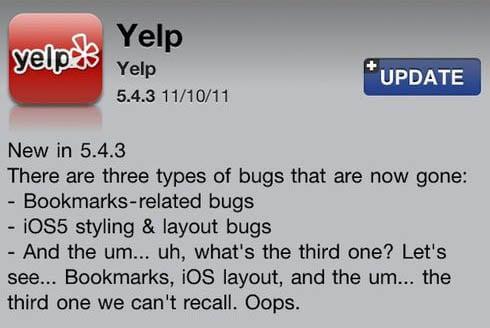 Yelp update 5.4.3 mack's Rick Perry