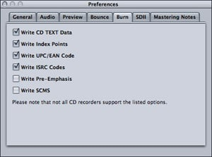 Apple Waveburner mastering preferences