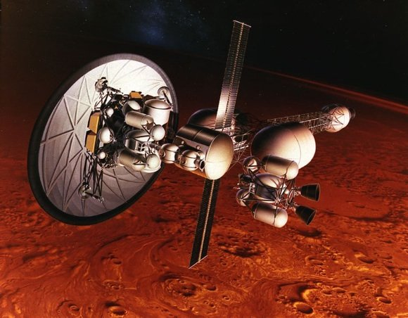 Concept dated 1960 of a nuclear-thermal ship in orbit above Mars. Credit: NASA