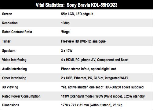 Sony Bravia KDL-55HX923 55in 3D TV