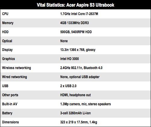 Acer Aspire S3 Core I7 Ultrabook O The Register