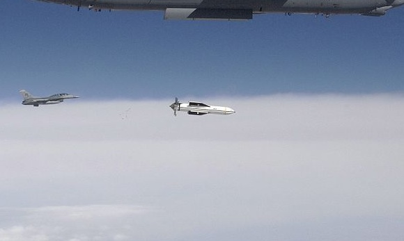 The Massive Ordnance Penetrator in a drop test from a B-52 Stratofortress. Credit: USAF