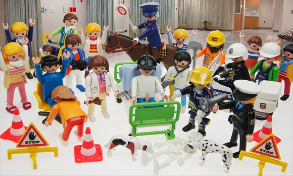 Our Playmobil reconstruction of the scene at Southampton General Hospital