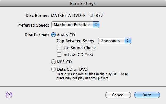 Apple iTunes disc burning settings