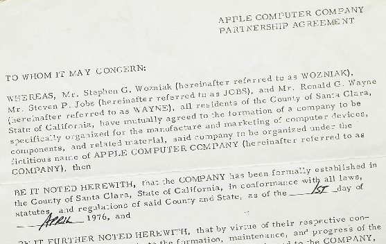 Apple's original founding contract