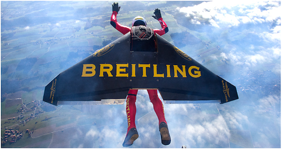 Jet man flying, credit Breitling