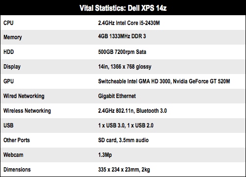 Dell XPS 14z 14in notebook specs