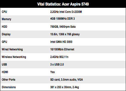 Acer Aspire 5749 15in notebook specs