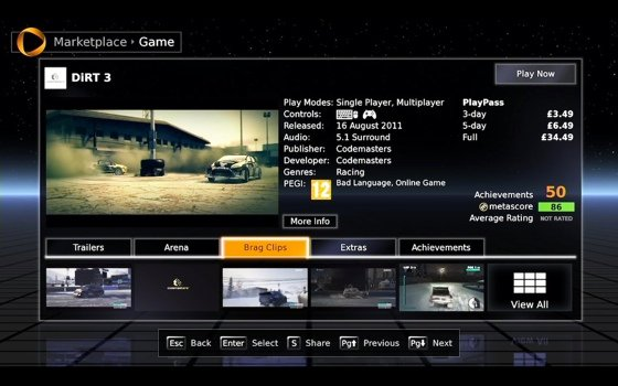 OnLive cloud gaming system UI