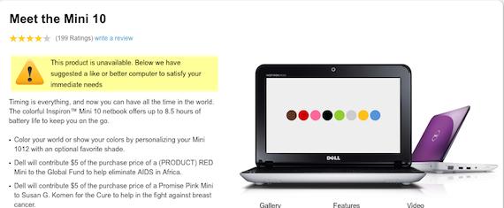 Dell Mini product page, credit Dell