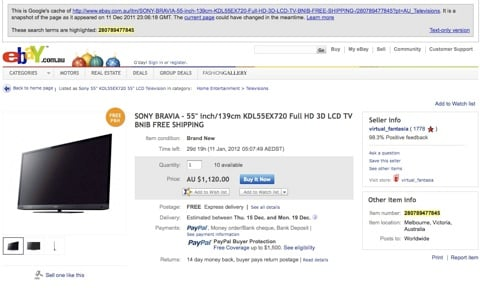 Google Cache image of eBay scam ad