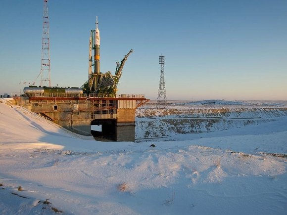 Soyuz TMA-03M at the launch pat at Baikonur Cosmodrome