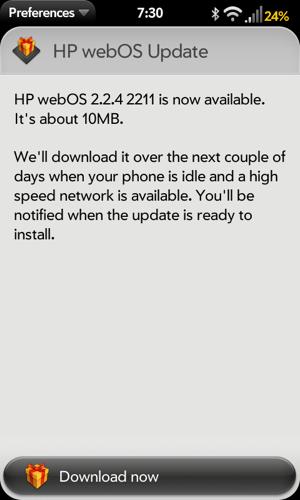 HP WebOS 2.2.4 update