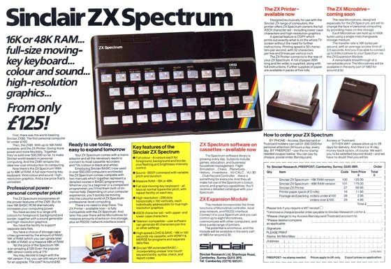 Sinclar ZX Spectrum advert