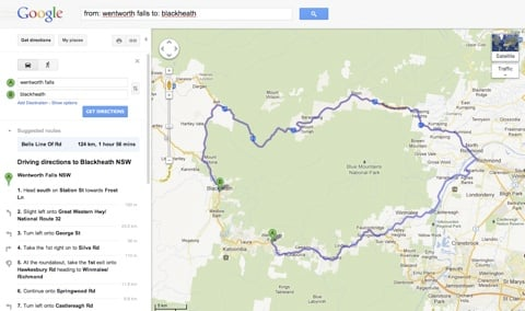 google maps route in the blue mountains