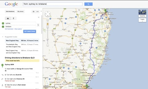 The wrong way to get to the New England Highway