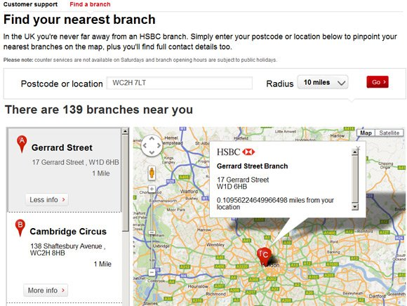 HSBC branch search shows accuracy to 17 decimal places