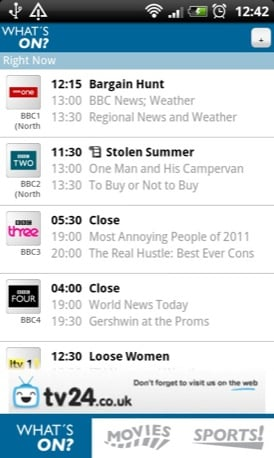 TV Guide UK Android app screenshot