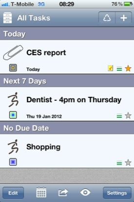 Errands To-Do List iOS app screenshot