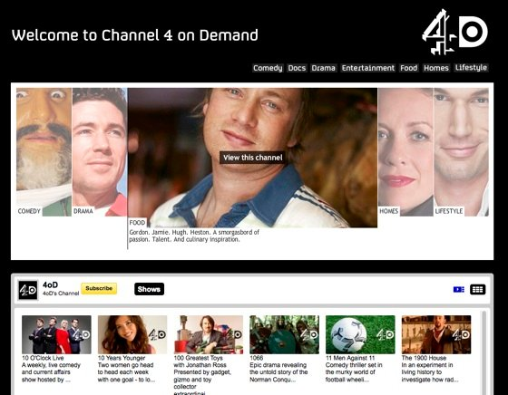 Channel 4's 4oD on YouTube