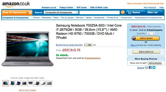 PreisCompany's pricey laptop on Amazon