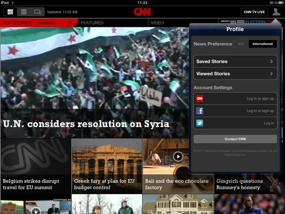 CNN iOS app iPad screenshot