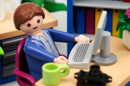 Our Playmobil figure innocently tweeting away at his computer