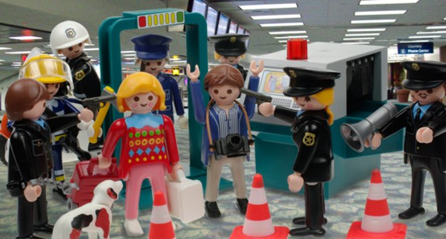 Our happy travellers surrounded by armed police at LAX