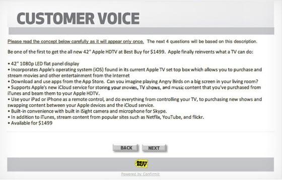 Best Buy Apple HDTV survey