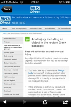 NHS Direct iOS app screenshot