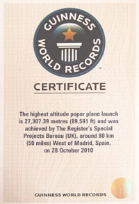 Our PARIS Guinness World Records certificate
