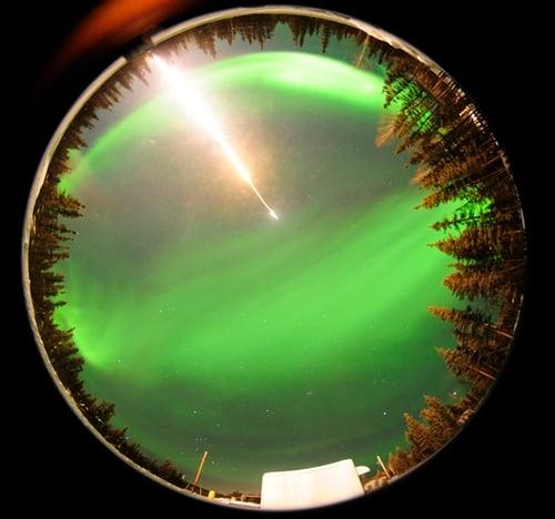 Fisheye camera shot of MICA rocket shot into aurora borealis