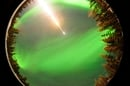 Fisheye camera shot of MICA rocket shot into aurora borealis