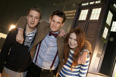 Arthur Darvill, Matt Smith and Karen Gillan. PIC: BBC