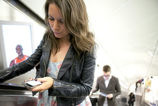 Smartphone user on Tube