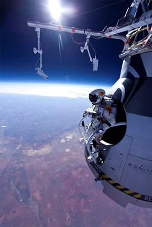 Felix Baumgartner prepares to jump. Pic: Red Bull Stratos