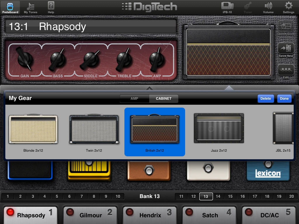 Digitech iPB-10 guitar effects pedalboard for iPad • The
