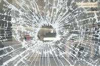 Smashed Apple Store window
