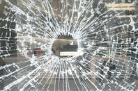 Smashed Apple Store window