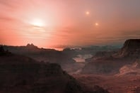 Artist's impression of sunset on the newly discovered super-Earth world Gliese 667 Cc. Credit: ESO