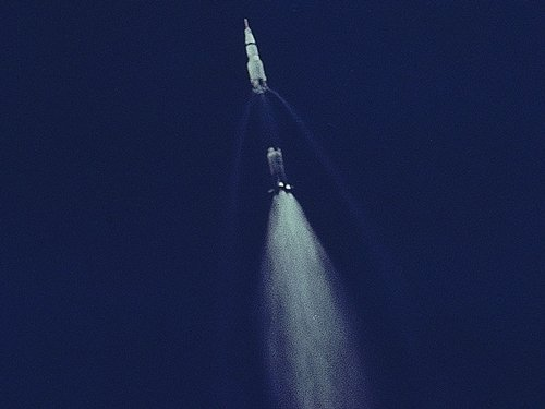 Apollo 11 first stage retro burn