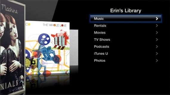 Apple TV Library screen