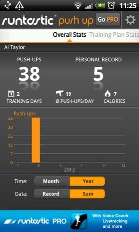Runtastic Push Up Android app screenshot
